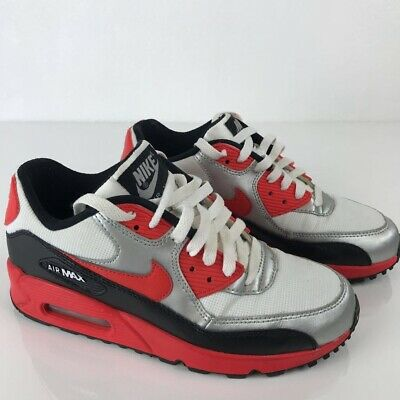 uk availability 25ead 7ff33 Nike Air Max 90 Youth Silver Red Black Leather Sneakers Girls EU 38.5 Kids  6Y
