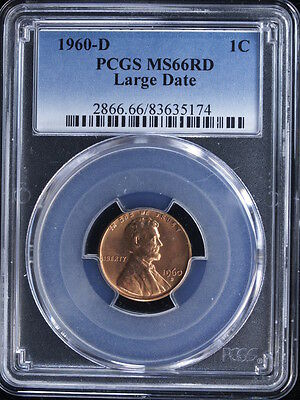 1960-D 1C Large Date RD Lincoln Cent #2 PCGS MS66 Red