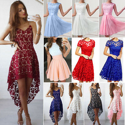 Womens Lace Evening Party Ball Prom Gown Formal Cocktail Wedding Short Dress