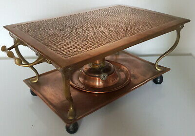 Antique Henry Loveridge copper and brass chafing dish food warmer chafing dish