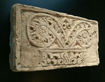 Ancient  Piece. Nice Al Andalus Decorated Terracota Brick Building Arab Clay
