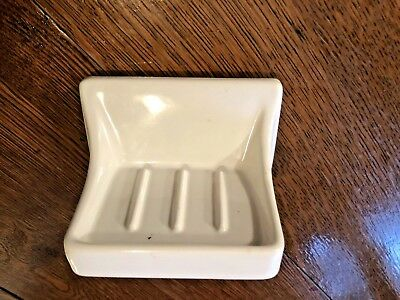 Vintage Porcelain Ceramic Bathroom Fixture Wall Soap Holder White Salvage