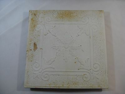 Vtg. Off-White Tin Metal Ornate Fleur-De-Lis Tile Vent/Cover