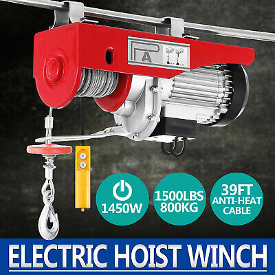 800KG Electric Hoist Winch Lifting Engine Crane Steel Wire Rope Hanging GOOD