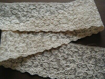 18c Old vtg Mechlin Lace floral emb/ery on mesh needle run gimp on any designs