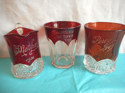 Vintage Ruby Red Glass Creamer Glasses 3 Pcs. Dated 1930 1940 Cranberry Antique
