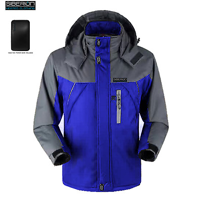 BLUE Siberion Unisex HEATED Electric Winter Ski Coat Snow JACKET Waterproof - XL