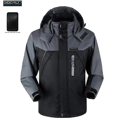 BLACK Siberion Unisex HEATED Electric Winter Ski Coat Snow JACKET Waterproof XL