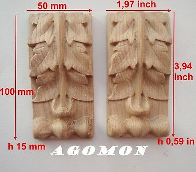 Wood carved,console,corbel set 2 pc, onlay applique sticker home decor furniture