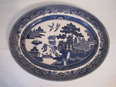 Large JOHNSON BROTHERS Willow Blue 14 inch Oval Platter EUC