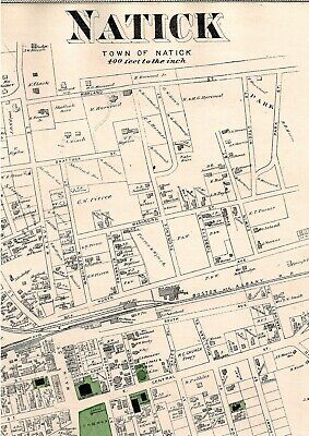 Vintage 1875 Natick, Ma., Map. Middlesex County,  Good Condition