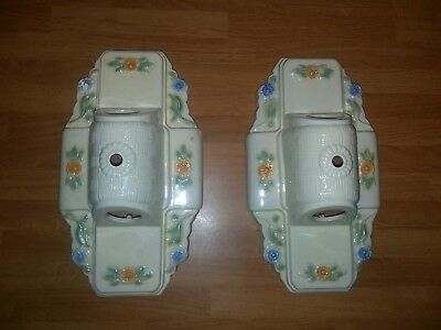 Pair Vintage Art Deco Porcelain Ceramic 2 Bulb Ceiling Light Fixtures Floral