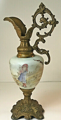 Vintage Antique Victorian Cast Metal Hand Painted Green Glass Ewer Urn 15""