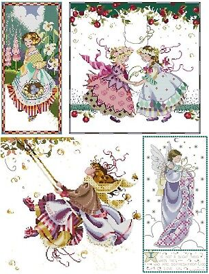 Set of 4 different Cross Stitch Chart - Digital Format
