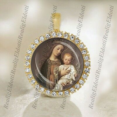 Mother of the Lord Virgin Mary and Baby Jesus Christian Catholic Gold Tone Medal
