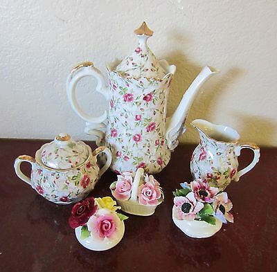 Vtg.Lefton China Rose Chintz Coffee Pot,Teapot,Cream,Sugar,3 English Flower Pots