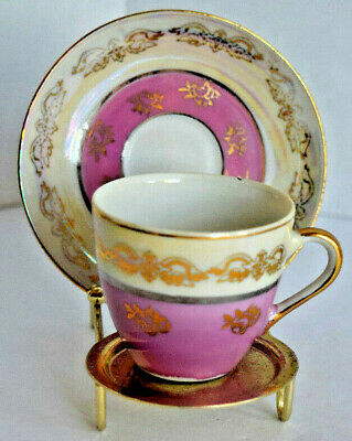 Vintage Miniature Bone China Tea Cup and Saucer Gold Trim Pink Flower Designs