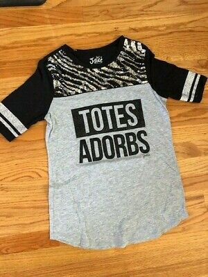 """Justice Shirt, Sequins, Glitter, """"Totes Adorbs"""", Size 14"""