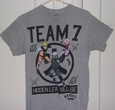 Naruto Shippuden Mens Medium Team 7 Hidden Leaf Village Graphic T Shirt