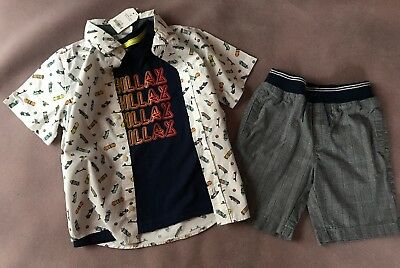 Crazy 8 a Gymboree co Tee shorts top (3pc) 5T skateboard plaid