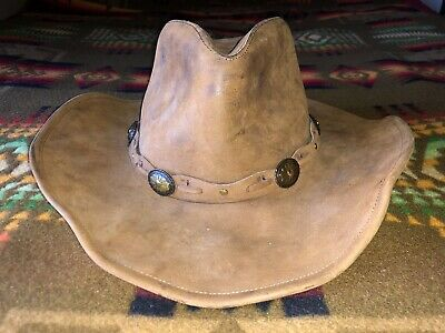 4b226111214 mens large vintage Stetson Rodeo Dr brown leather western outback cowboy hat  L