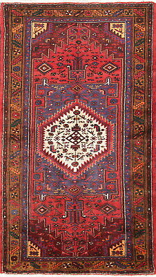One of a Kind Geometric Hamedan Persian Hand Knotted Red Wool Area Rug 4'x7'