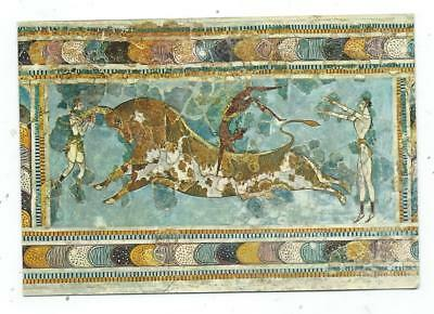 Greece Crete Heraklion Palace of Knossos Bull-fight Fresco Postcard c.1970's