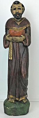 "Vintage  21.5"" Tall Hand Carved/Painted Wood Monk Friar Statue Sculpture Mexico"