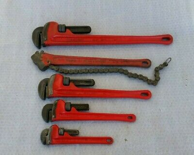 """Ridgid Pipe Wrenches set 10"""", 14"""", 18"""", 24""""  lot Of (4) & 18"""" chain wrench USA"""