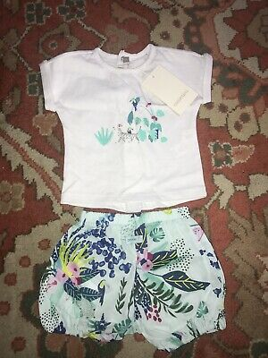 Catimini Baby Girls Outfit Cotton Top Shorts Set NWT 3 Months