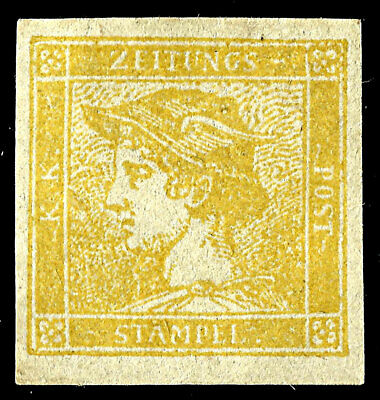 AUSTRIA, Year 1851, Yellow Mercury, (6 Kr.) Newspaper Stamp, MNG. Michel #7