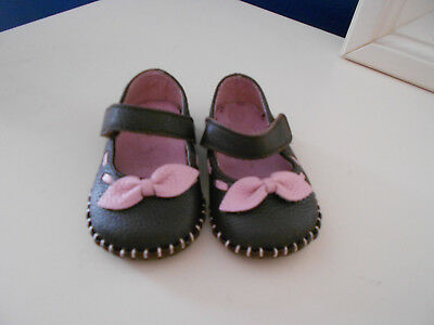 NIB Black Patent Mary Janes Soft Sole Shoes with Bow Infant Girls Size 1,2,3