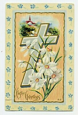 EASTER GREETINGS Cross & Daffodils Antique Vintage 1910 Embossed NASH POSTCARD
