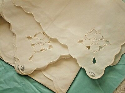 Vintage Tablecloth & 8 Napkins-New/Old w Tags~Linbro 100% Cotton 82X84~Cutwork