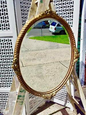 VINTAGE FRENCH LOUIS CARVED OVAL GOLD PAINTED BEVELLED EDGED MIRROR.70 X 54.5 cm