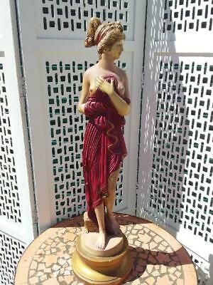 ELEGANT LARGE CLASSICAL GREEK FEMALE PORCELAIN STATUE/ FIGURE ON STAND  79 cm