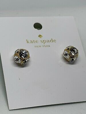 1edb33f172f6 AUTHENTIC KATE SPADE LADY MARMALADE STUDS Earring Gold/Clear ...