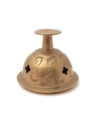 """Small Miniature 1.5"""" Vintage Gold Toned Brass Ornate Decorative Bell"""
