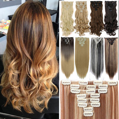 100% Real Natural Clip in Hair Extensions 8Piece Full Head Long As Human Hair US