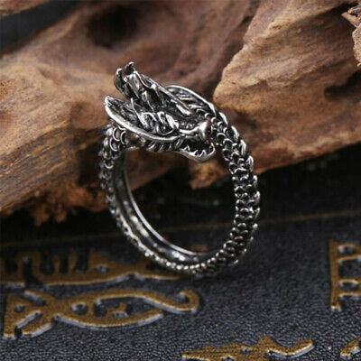 Unisex Punk Silver Plated Dragon Adjustable Ring Opening Finger Rings Jewelry