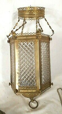 Antique Victorian Brass Hanging Light With Cross Hatched Glass Panels