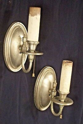 VINTAGE PAIR OF EARLY 20th CENTURY REGENCY OVAL BACK SILVER PLATE SCONCES
