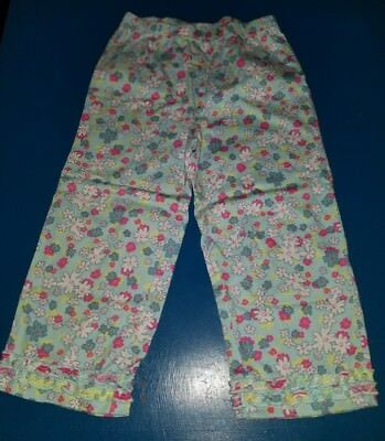 Hanna Andersson Girls Size 110 Cropped Capri Blue Floral Leggings ruffles