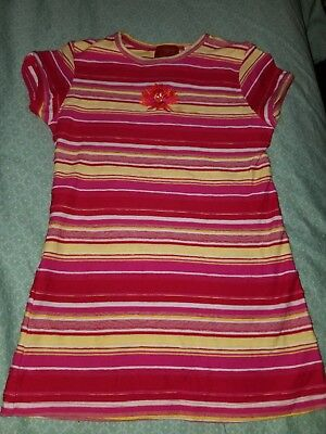 KENZO Girl's red pink yellow white striped embroidered flower Dress size 6