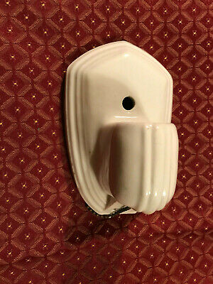 Working Paulding Mid Century White Porcelain Bathroom Sconce with Working Outlet