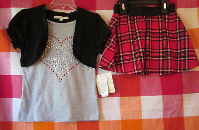 """ NWT ""   2 Piece Girls Size 5 Heart Top & Skirt Set"