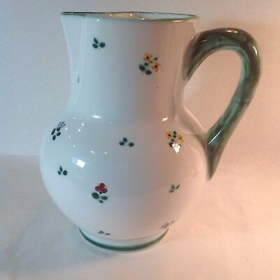 """HEAVY Ceramic porcelain PITCHER 9"""" TALL WITH Green handle & multi flowers"""