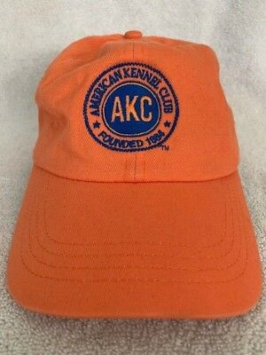 AKC American Kennel Club Orange Baseball Cap Dad Hat Strapback Unstructured NWOT