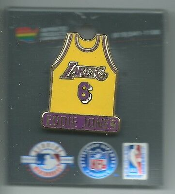 39d46019aa2 NBA Los Angeles Lakers Eddie Jones #6 Yellow Jersey Pin OOP LIMITED!