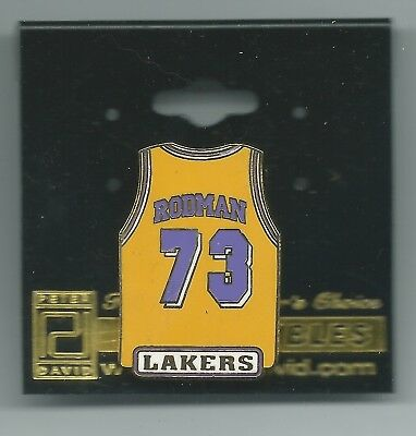 5972b5019c9 NBA Los Angeles Lakers Dennis Rodman #73 Yellow Jersey Pin OOP LIMITED!